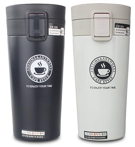 Termo, taza de café, Double Y, con paredes dobles de acero inoxidable aisladas White-s