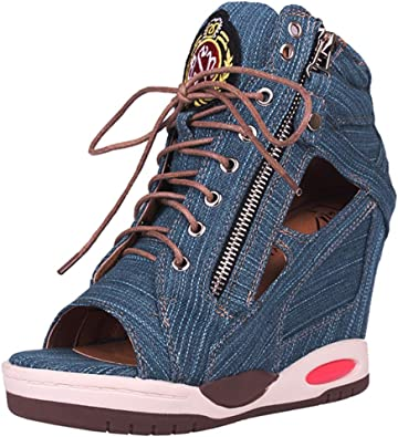 Jeans Wedges Sandals Women, Hidden Heel