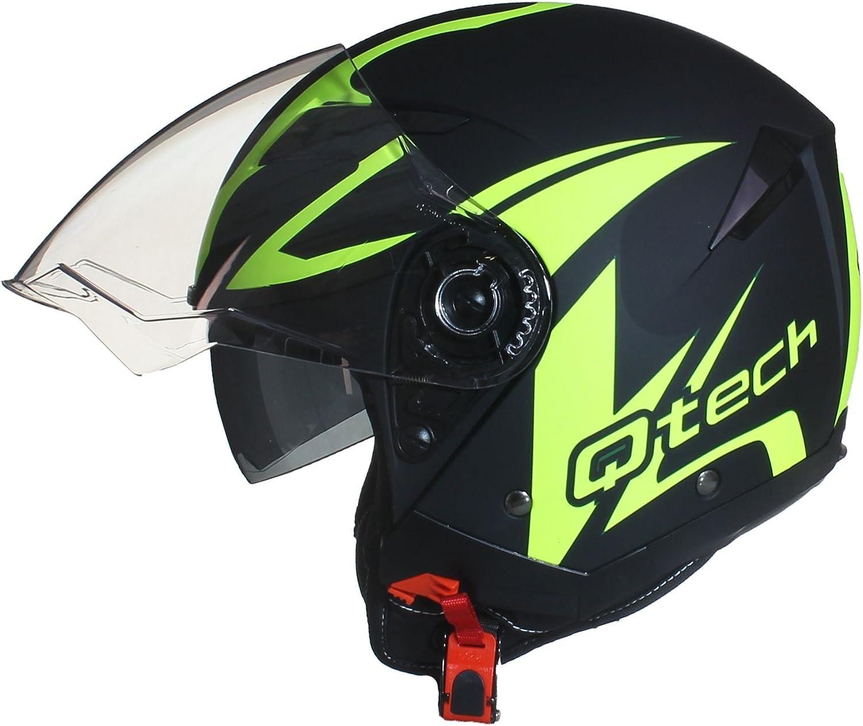 Jet Helm Qtech Casque de Moto Face Ouverte Double Visi/ère Scooter Jaune 61-62cm Pare Soleil Interne XL