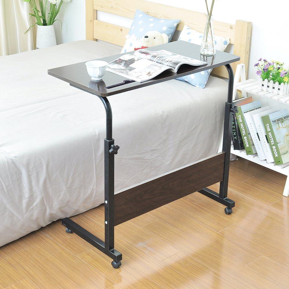 DlandHome 80 x 40 cm Tavolino Computer con Tavolino Regolabile in Altezza a Rulli con 4 Rotelle Bloccabili per Ufficio Camera da Letto,con Slot per Tablet Nero