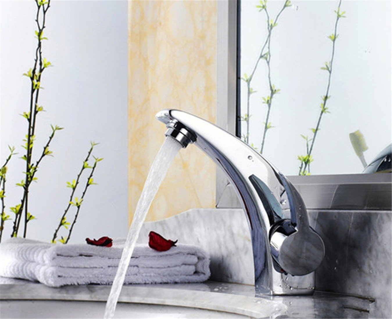 I 17.5cm LHbox Basin Mixer Tap Bathroom Sink Faucet Brass body hot and cold basin tap continental pull-down faucet stylish lowered basin faucet, pure silver magic lamp with 60 Tube