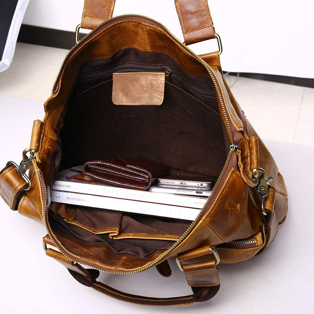 Polo Videng Genuine Crazy Horse Leather Large Durable Briefcase for 14 inch Laptop Case Business Messenger Shoulder Bags P60 Light Brown
