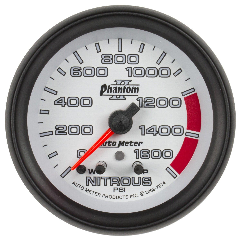 Auto Meter 7874 Phantom II 2-5/8-Inch 0-1600 PSI Full Sweep Electric Nitrous Pressure Gauge PRRXE