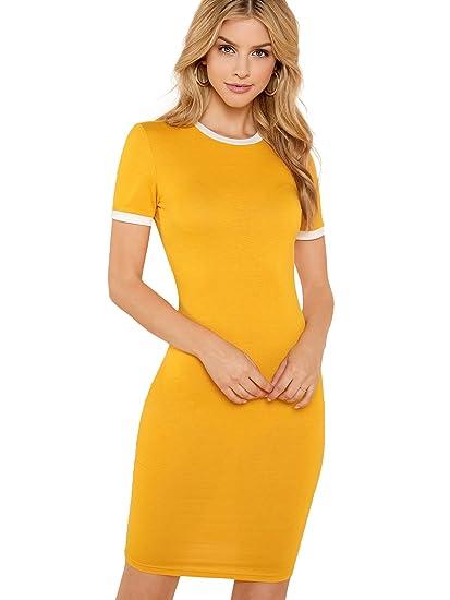 26b8da7591 SheIn Women's Casual Round Neck Short Sleeve Slim Fit Bodycon Pencil Dress  Ginger Small