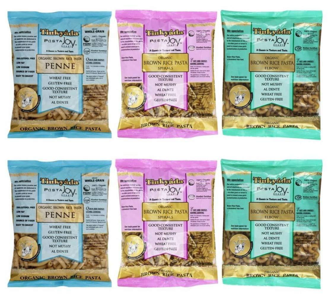 Tinkyada Organic Gluten-Free Brown Rice Pasta 3 Shape Variety Bundle: (2) Elbow Pasta, (2) Spirals Pasta, and (2) Penne Pasta, 12 Ounce Ea. by Tinkyada