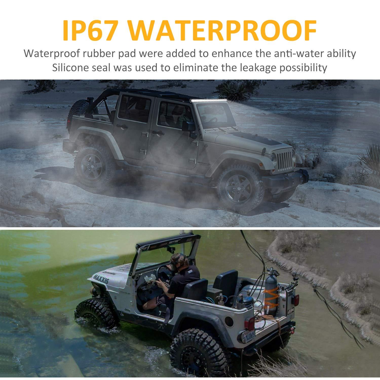 Zmoon Led Light Bar 14in Signal Row Light Bar 80W 8000lm Spot Flood Combo Off Road Light Waterproof Slim Light Bar for SUV Jeep ATV Boat