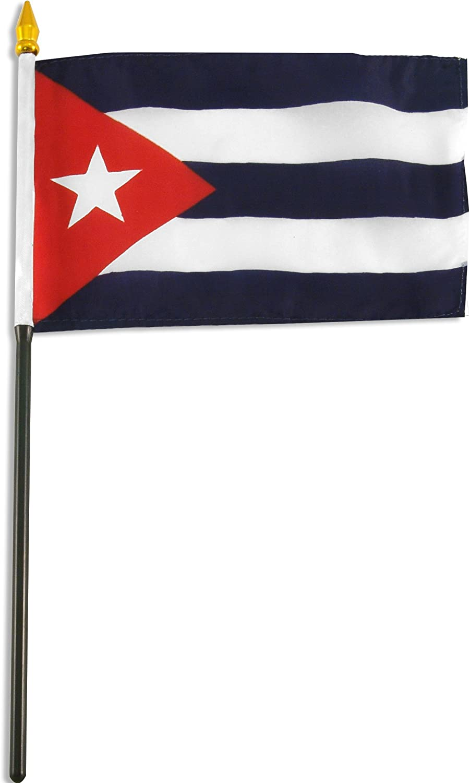 "sewn edges Cuba Cuban Flag 4/""x6/"" Desk Table Stick"