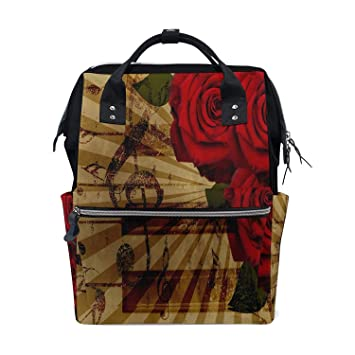 0b737b48c252 Amazon.com : Backpack Diaper Bag Retro Music Note Red Rose Womens ...