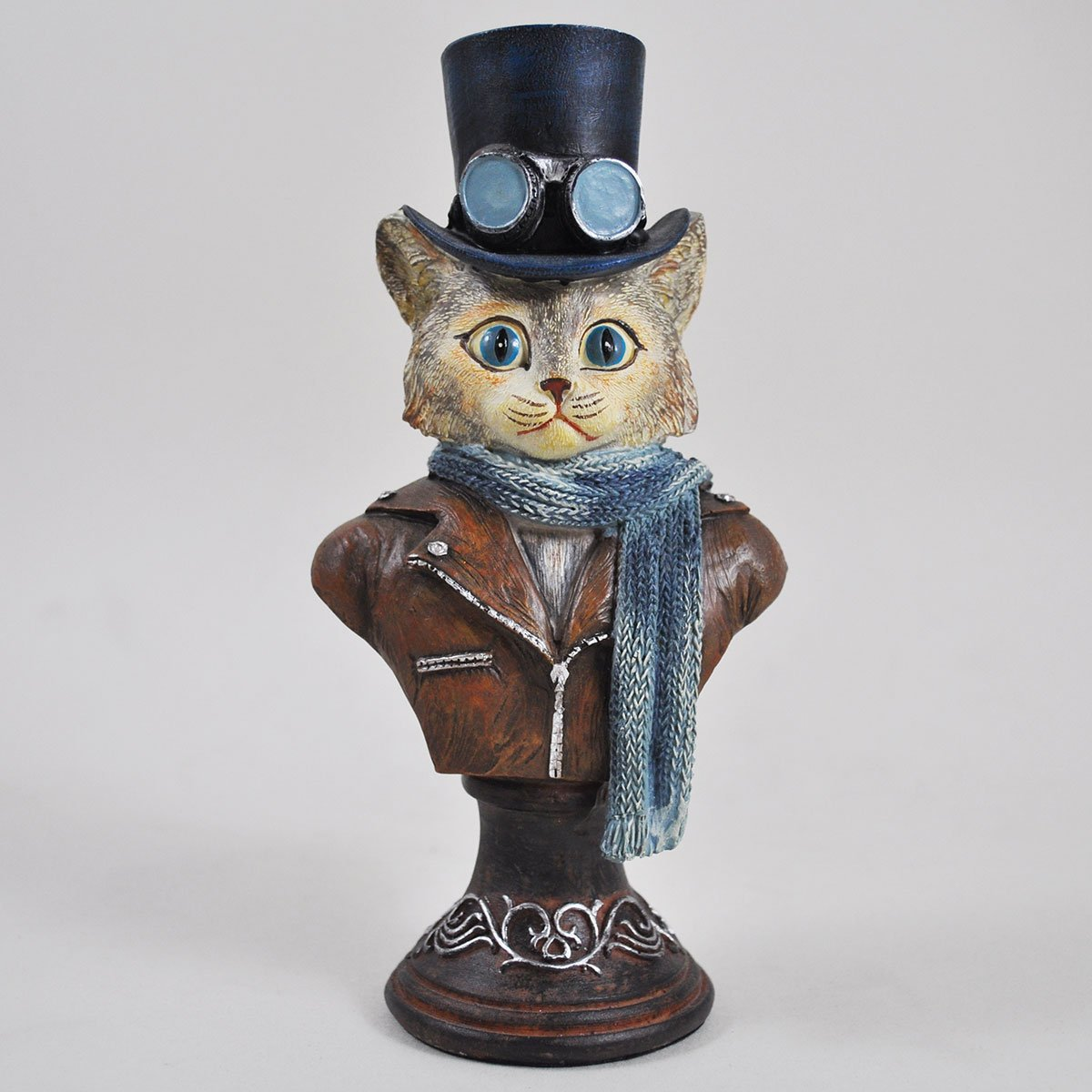 Dapper Animal Steampunk Cat Bust Alternative Novelty Decor Anthropomorphic H18cm Fiesta Studios
