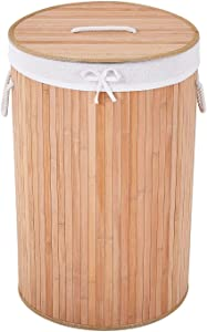 COZAYH 72L All-Natural Bamboo Laundry Hamper with Lid, String Handles and Removable Liner, Foldable Storage Basket, Easily Transport Laundry Bin, Round in Brown/Natural Bamboo Color (Natural)