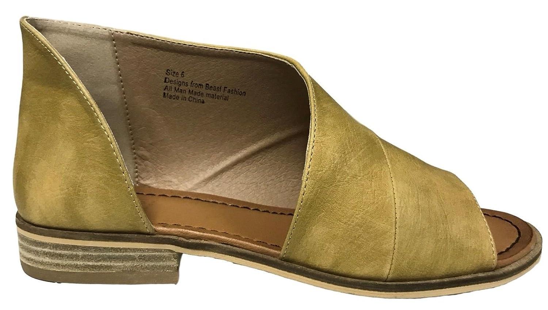 Beast Fashion Lotus-01 Women D'Orsay Slip on Open Toe Extreme Cut Out Ankle Flat Bootie Mustard B079YXGRBX 6 B(M) US|Mustard