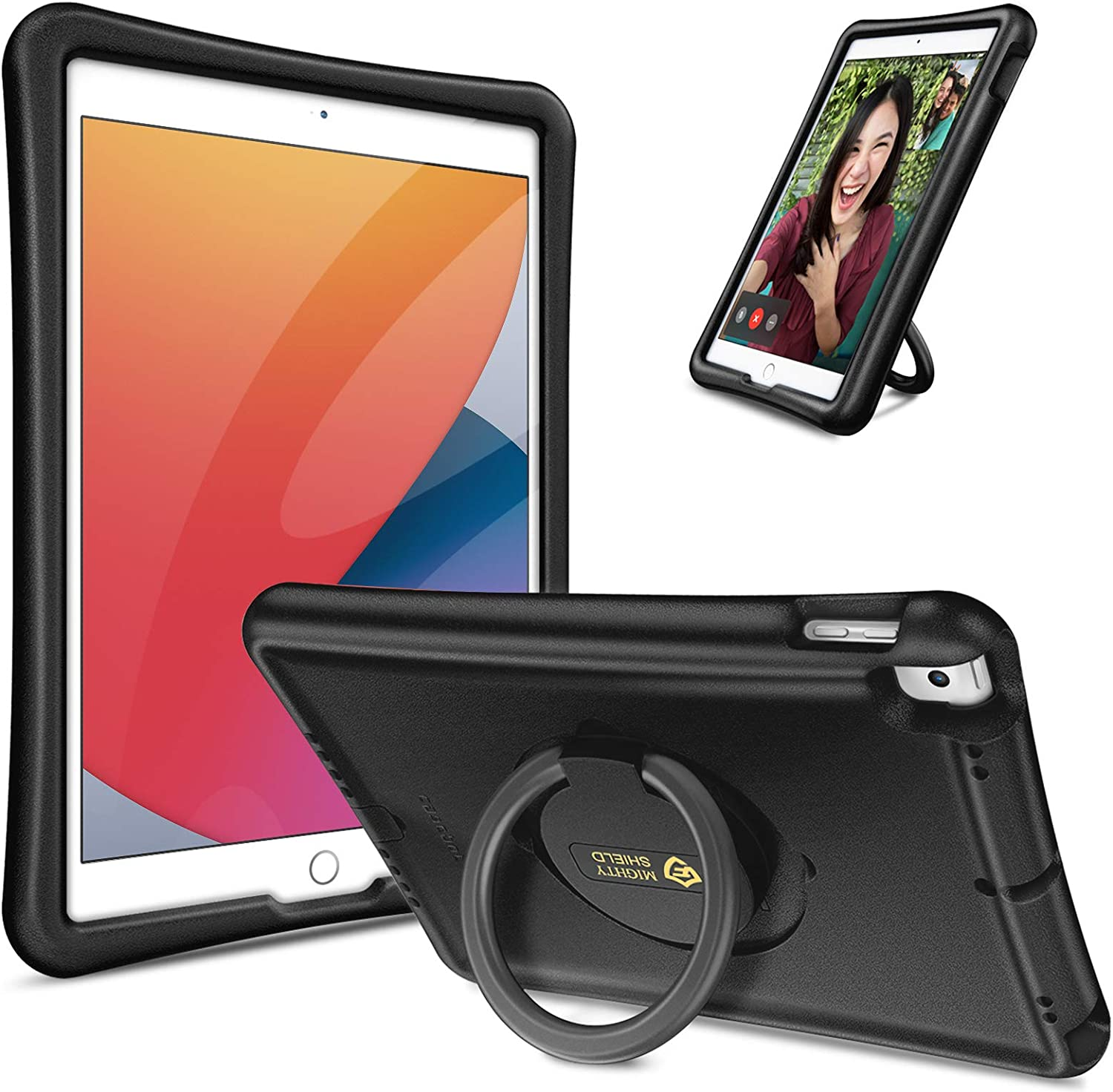 """Fintie Case for New iPad 8th Gen (2020) / 7th Gen (2019) 10.2 Inch, iPad Air 3rd Gen / iPad Pro 10.5"""" , [Magic Ring] 360 Rotating Multi-Functional Grip Stand Shockproof Full-Body Rugged Cover, Black"""