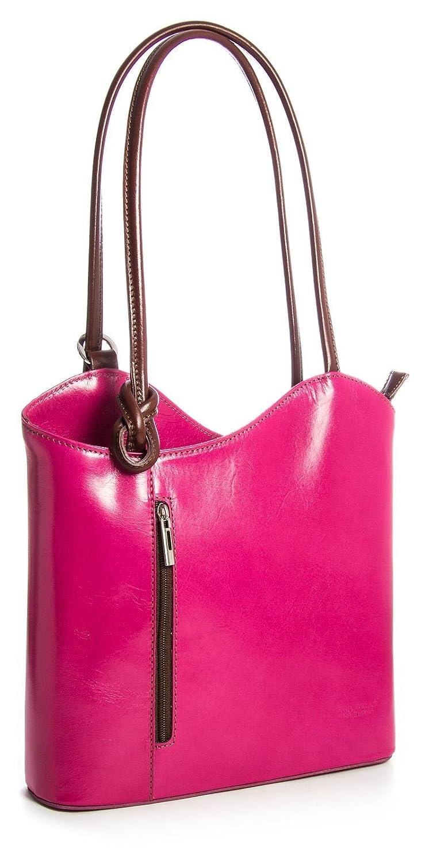 LiaTalia Lujoso bolso para damas, hecho en legítima Piel Italiana, con detalle de cordoncillo, para llevar en el hombro o como mochila - Libby - z ** (Sin Tubería) - Rosa - Tan Trim