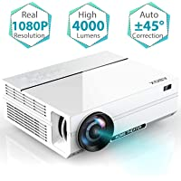 Projector, 2019 Newest ABOX A6 1080p Native Resolution LED Projector, 4000 Lumens Home Theater Projector with 74-200'' Screen, ±45° Auto Keystone Correction, 30% Reduction Noise, Support HDMI USB SD Card VGA AV for Home Cinema, Games, Parties, Outdoor Activities and More