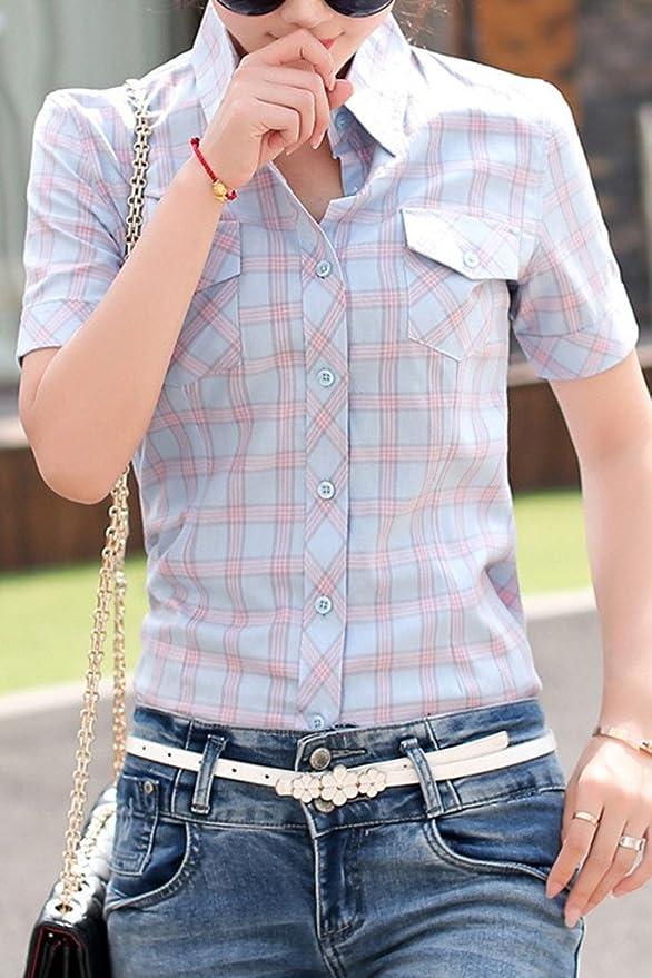 Lasher Women's Cotton V Neck Short Sleeve Plaid Shirt Button-up Shirts,Water Green,US Medium/Asian XXL