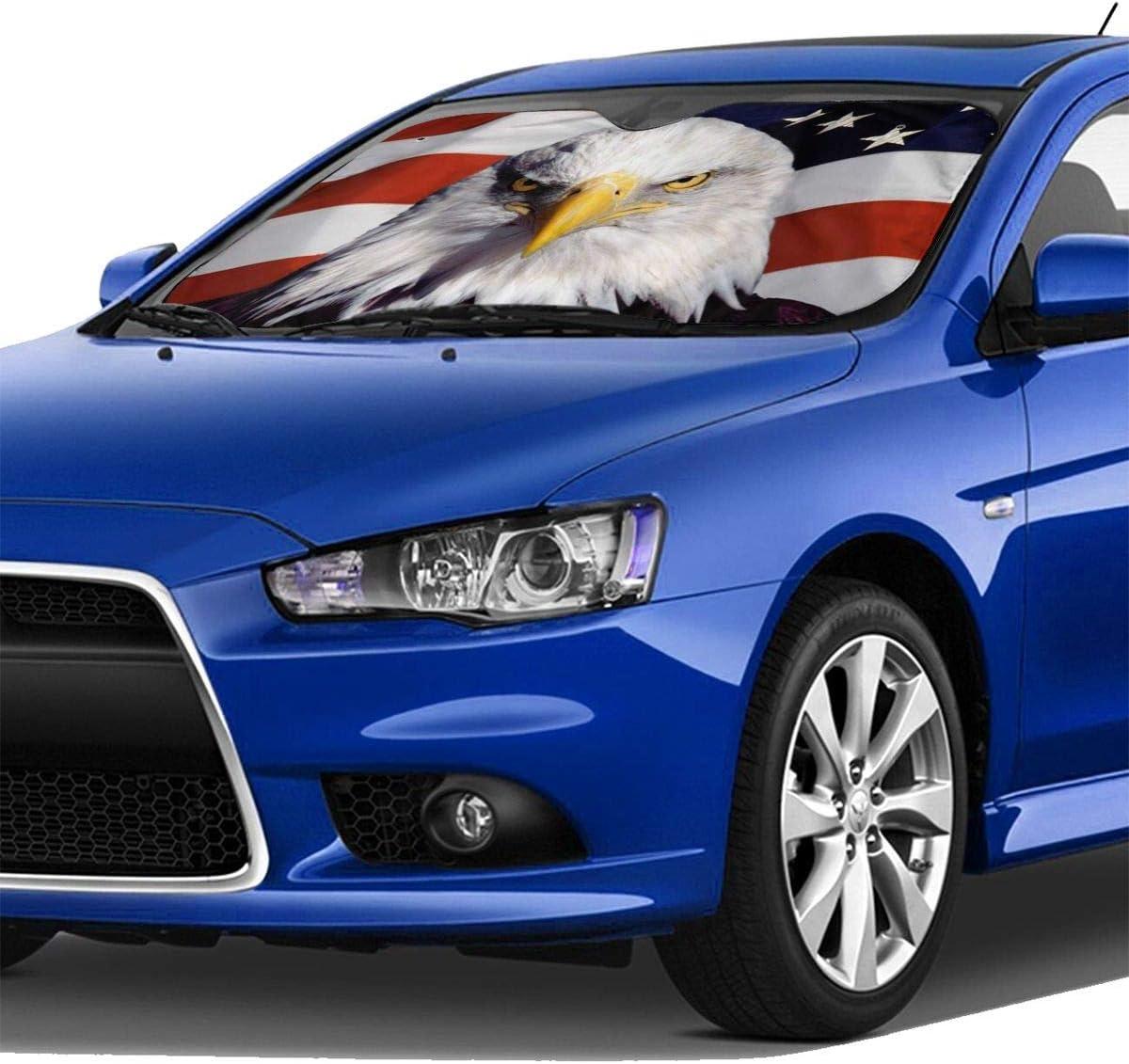 Bald Eagle Windschutzscheiben Sonnenschutz Für Auto Suv Lkw 129 5 X 69 8 Cm Faltbar Uv Strahlen Reflektor Frontscheibe Auto