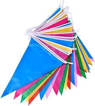 Bandera Banderines de Plástico Multicolor Doble Cara Decoración de Fiesta Interior/ Exterior (36 Pies): Amazon.es: Juguetes y juegos