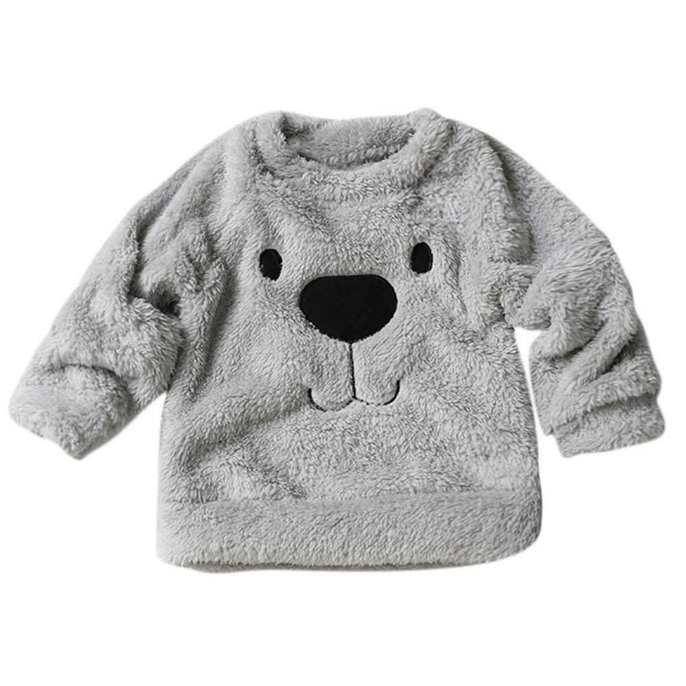 Baby Warm Thick Sweater Cartoon Bear Pattern Fleece Blouse T-Shirt Coat