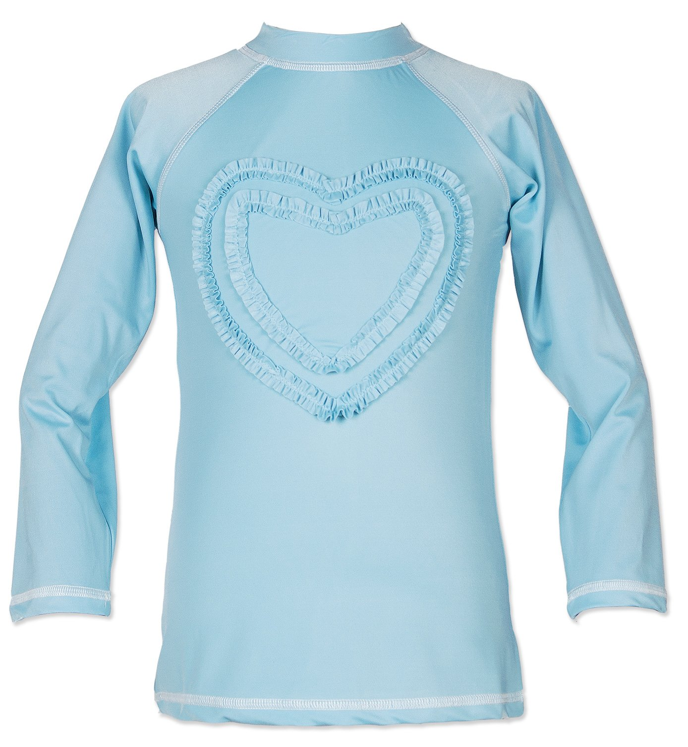 Teen Big Girls' Ruffled Valentine Long-Sleeve Rash Guard Swim Shirts UPF 50+ Sun Protective Sky Blue 8-9