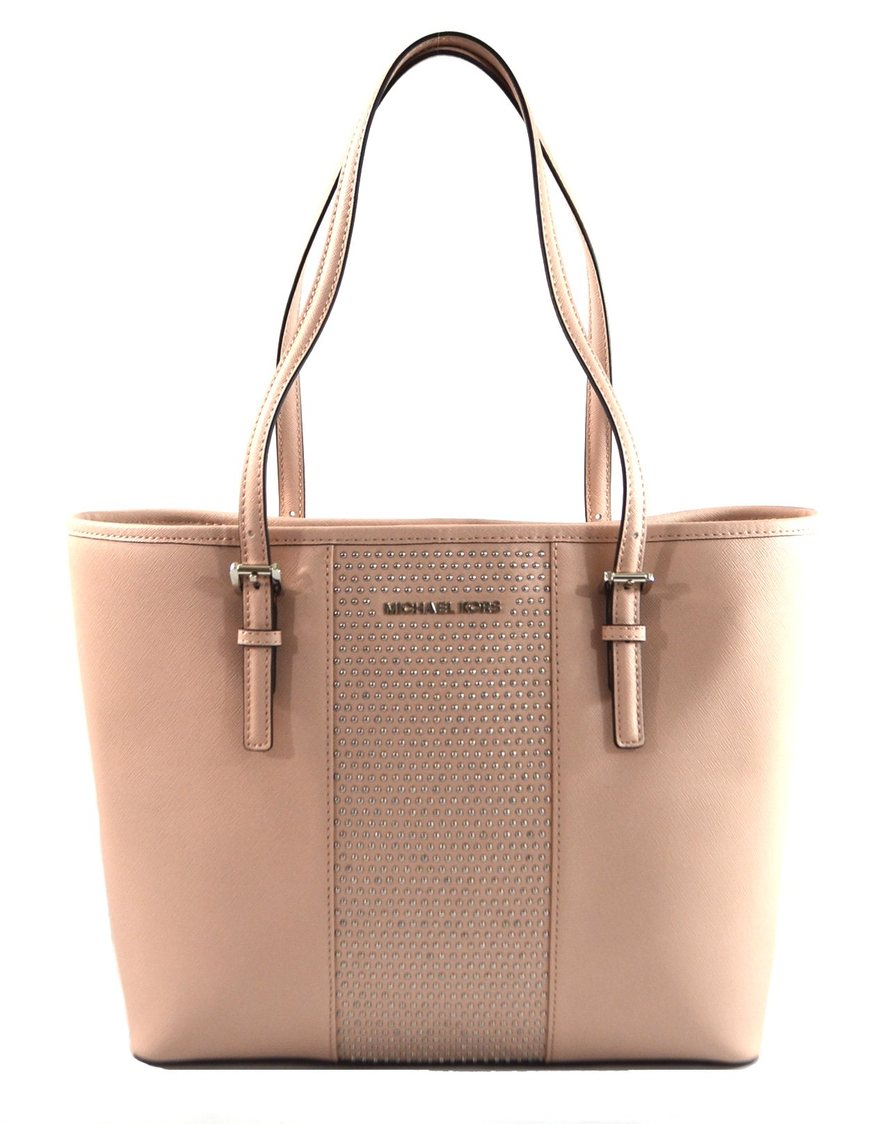 Michael Kors Women's Jet Set Travel Micro Stud Leather Carry All Tote Handbag Ballet