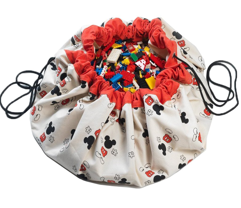 Play Mat and Toy Storage Bag - Durable Floor Activity Organizer Mat - Large Drawstring Portable Container for Kids Toys, Books - 55'', Mickey, Cool