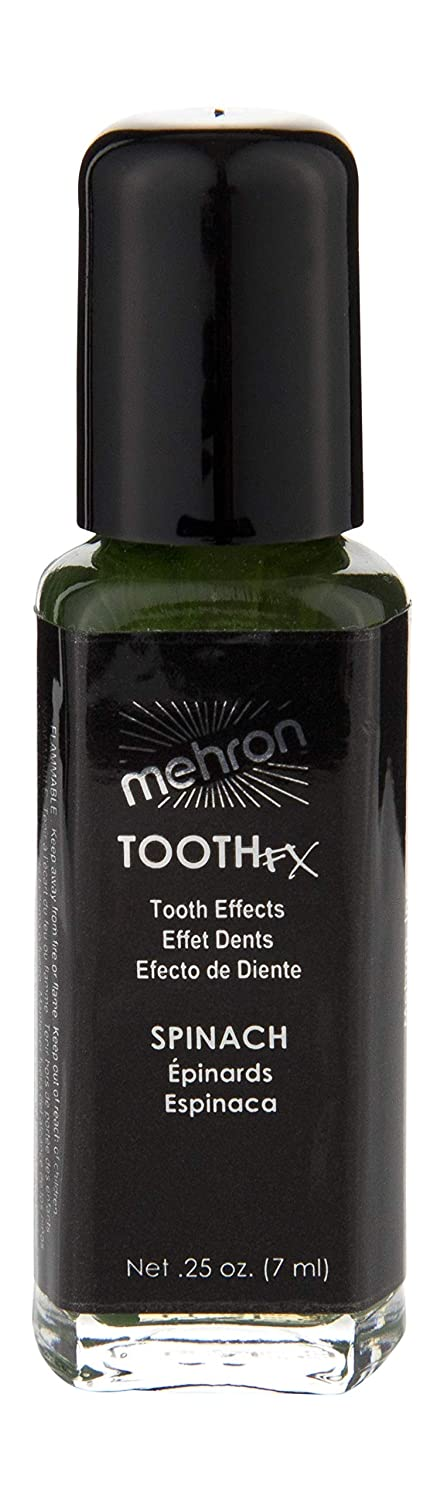 Amazon.com : Mehron Makeup Tooth FX with Brush for Special Effects, Halloween, Movies (.25 oz) (Spinach) : Beauty