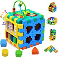 Baby Activity Cube Toddler Toys - 6 in 1 Shape Sorter Toys Baby Activity Play Centers for Kids Infants Educational Musci…