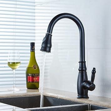 Küche Waschbecken Wasserhahn schwarz Einzelhebel Küchenarmatur mit Brause