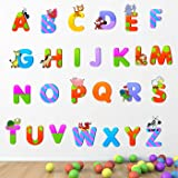 StickMe Baby Kids Learning Education Nursery Pre School Kinder Garden PVC Vinyl Alphabets Wall Sticker (Multicolour, 100 X 100 cm)