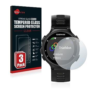 savvies Protector Pantalla Cristal Templado Compatible con Garmin Forerunner 735XT (3 Unidades) - Dureza 9H