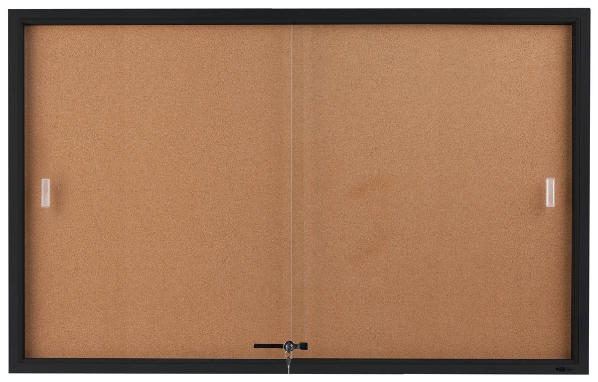Displays2go 5 x 3 Feet Enclosed Sliding Door Cork Bulletin Board, Self-Healing Corkboard Display Surface, 60 x 36 Inches Notice Board for Wall Mount with Mounting Hardware, Aluminum Frame, Black (CBSD6036BK)