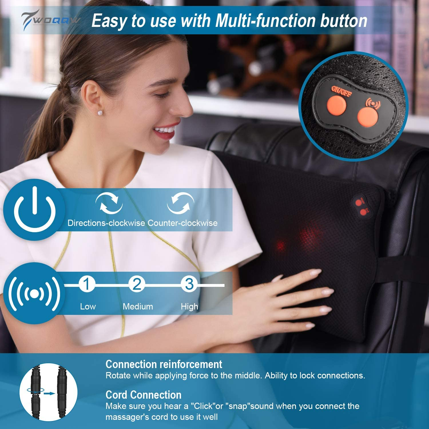 WOQQW Back Massager, Massagers for Neck and Back with Heat, Electric Back Massages Pillow for Back, Deep Tissue Kneading Massager for Shoulder, Lower Back, Leg, Foot, Muscle Pain Relief: Home & Kitchen