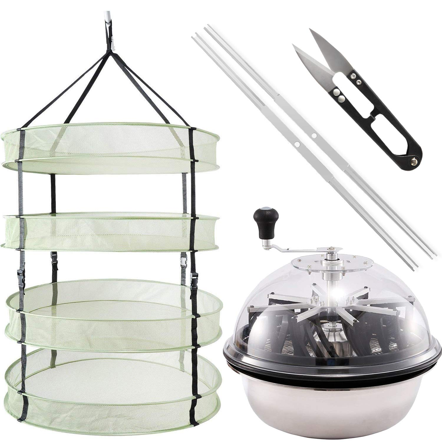 iPower GLTRIMBOWL16MDRYRD2L4 16-Inch Leaf Bowl Trimmer Twisted Spin Cut for Plant Bud and 2 Feet Diameter with 4 Layers Clip on Hanging Herb Drying Rack Net by iPower