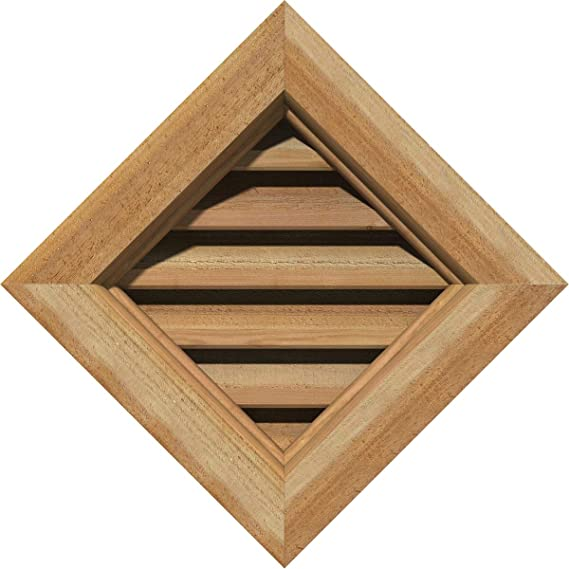 Ekena Millwork GVWVE16X1602SDPWR Primed Smooth Western Red Cedar 16 Width x 16 Height Vertical Gable Vent with Decorative Face Frame Decorative
