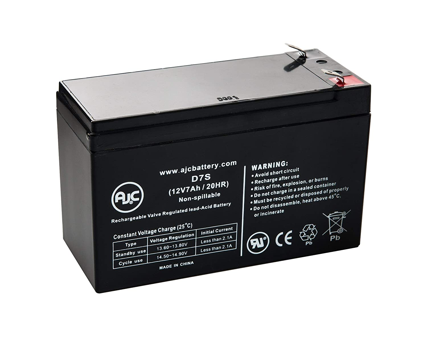 Power Source WP7.5-12 (91-190) 12V 7Ah Sealed Lead Acid Battery - This is an AJC Brand Replacement AJC Battery