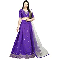 Indian Dresses Store Leons Fab Women's Heavy Satin Embroidered Semi Stitched Purple Colour Lehenga Choli with Blouse Piece (Free Size)