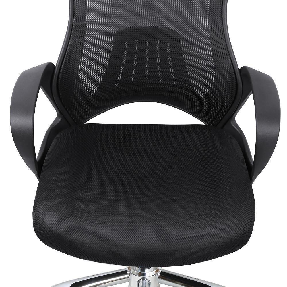 Popamazing Race Car Style Mesh Swivel Gaming Chair,Fixed Armrests,With Comfy Built-in Headrest,Black