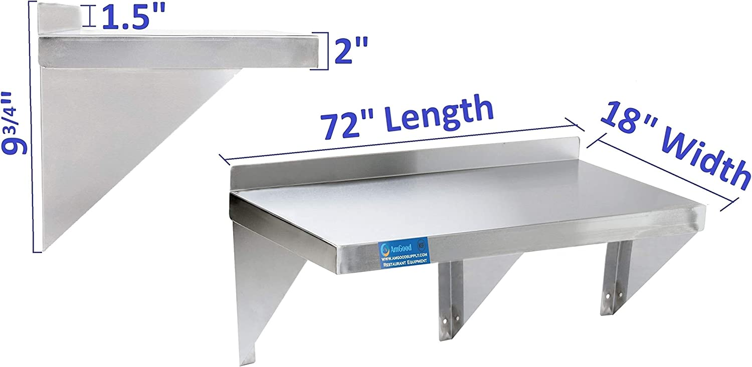 Square Edge Metal Shelving AmGood 18 Width x 48 Length Stainless Steel Wall Shelf Commercial Grade Heavy Duty Wall Mount NSF Certified