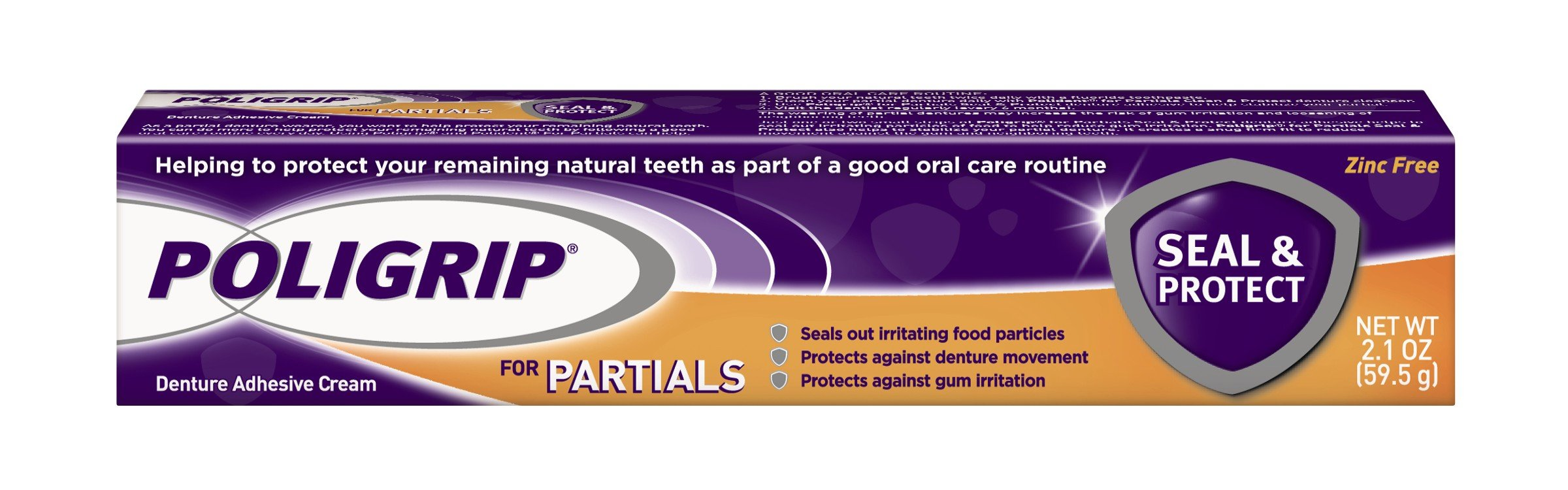 Poli-Grip Partials Seal and Protect Denture Adhesive Cream, 2.1 Ounce
