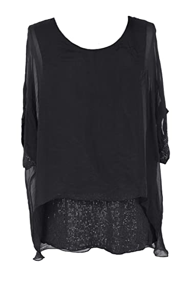 7d65bf6a26f TEXTURE Ladies Women Italian Lagenlook Plain Short Sleeves Sequin Hem Silk  Tunic Top Blouse One Size (Black, One Size): Amazon.co.uk: Clothing