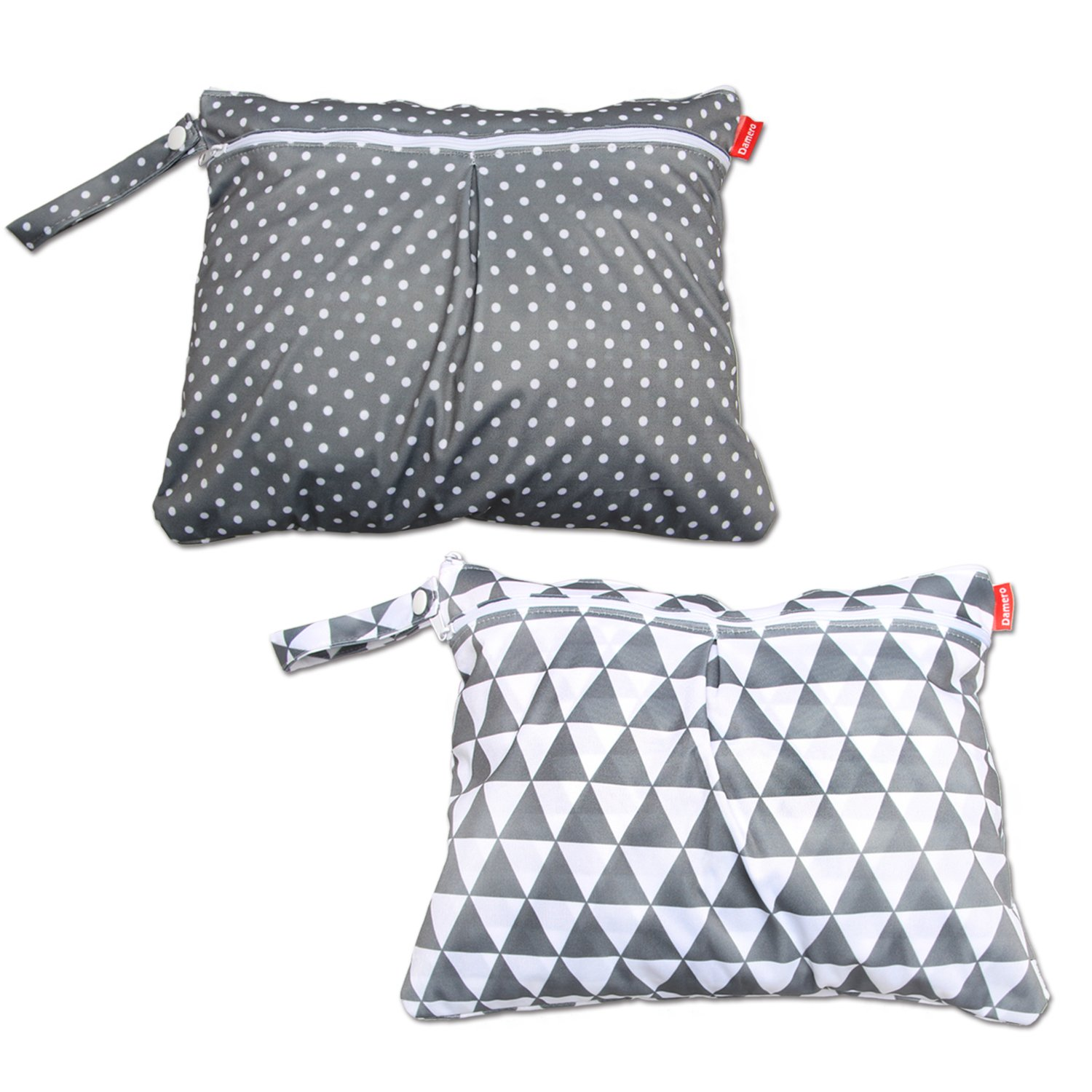 Damero 2pcs/Pack Baby Wet and Dry Bag, Travel Diaper Organiser Bag with Handle, Double Zipper Compartments for Baby's Nappies, Dirty Clothes and More (Medium, Grey Triangle+Grey Dots)