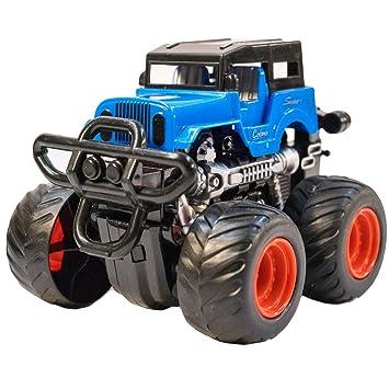 TukTek Kids First Blue Mini 4WD Stunt Monster Truck Friction Push Race Car  for Boys &
