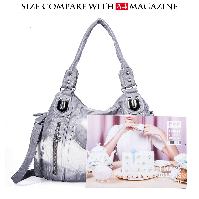 Handbag Hobo Women Handbag Roomy Multiple Pockets Street ladies' Shoulder Bag Fashion PU Tote Satchel Bag for Women (AK812-2Z Grey) by Angel Kiss (Image #4)