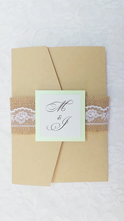 amazon com 100 wedding invitations rustic mint green craft pocket
