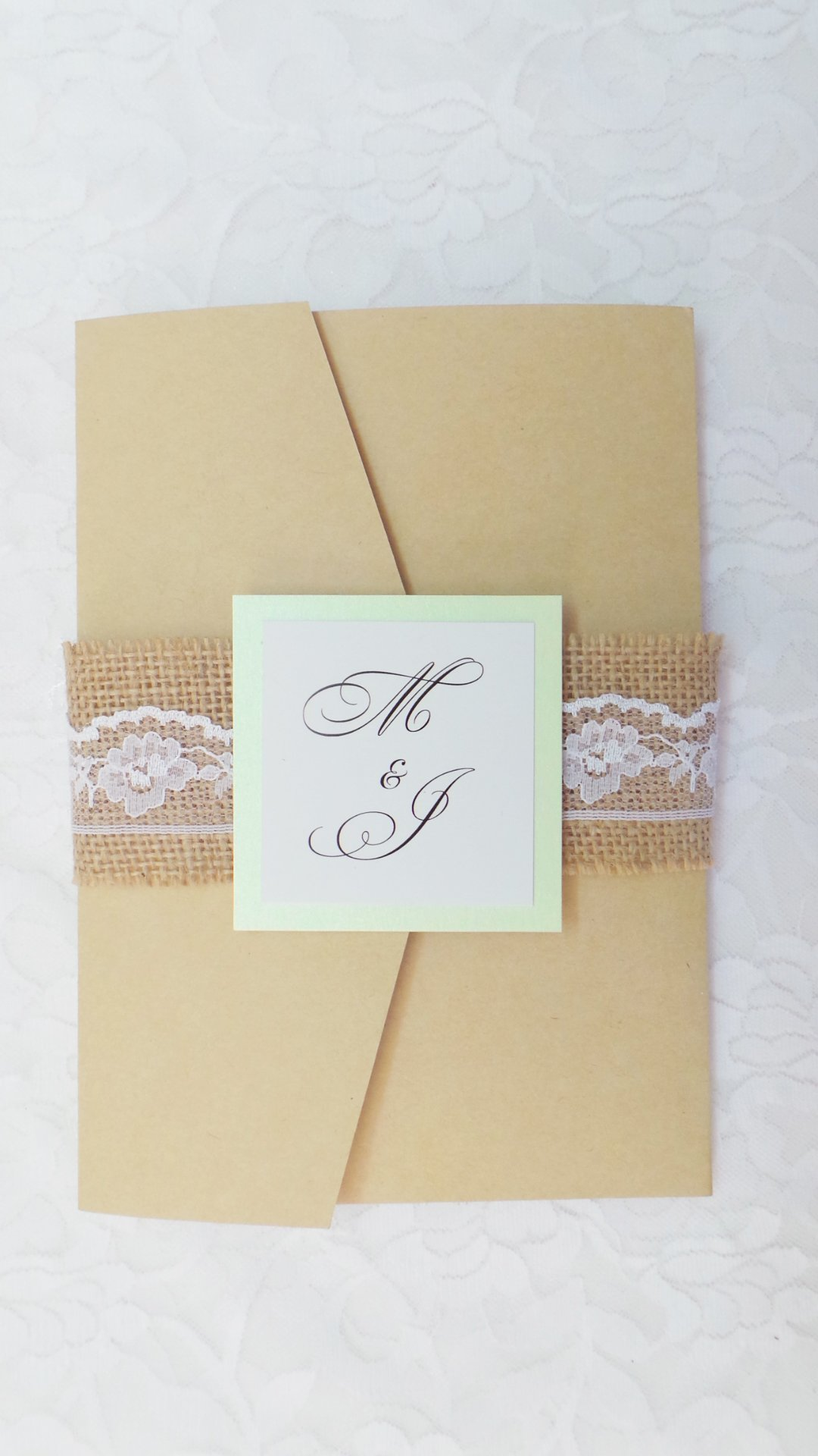 100 Wedding Invitations Rustic Mint Green Craft Pocket Fold Country Lace Burlap + Envelopes + Response Gift Registry Accommodation Directions Cards Set
