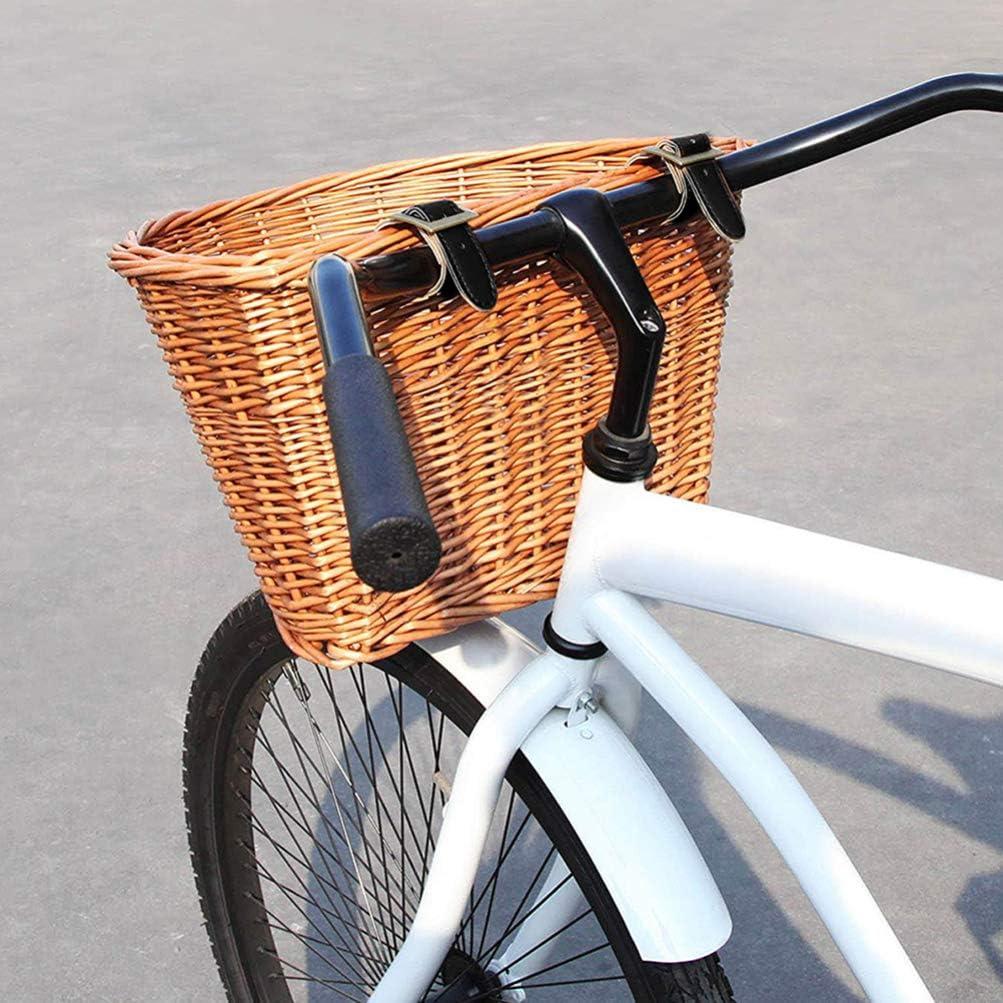 CLISPEED Gewebter Fahrradkorb mit Griff Rattan Gewebte PU-Lederriemen Fahrrad Vorne Lenker Schnalle Korb Rattan K/örbe f/ür Fahrradzubeh/ör Dunkelbraun