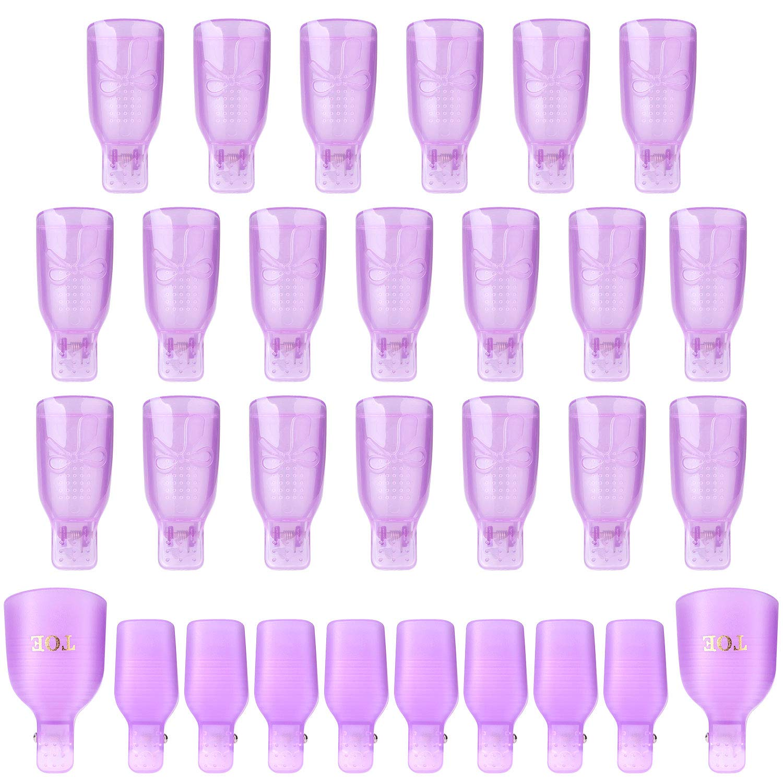 Acrylic Gel Nail Polish Remover Clips,30pcs Reusable 10pcs Toenail And 20pcs Finger Clips-Purple