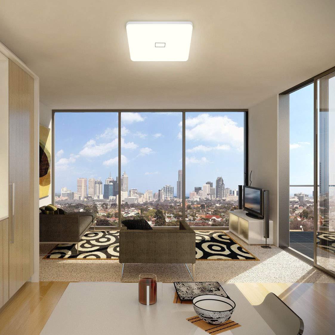 Öuesen LED 24W lámpara de techo resistente al agua moderna LED luz de techo Cuadrado delgada 2050lm Blanco natural 4000K para baño Dormitorio Cocina ...