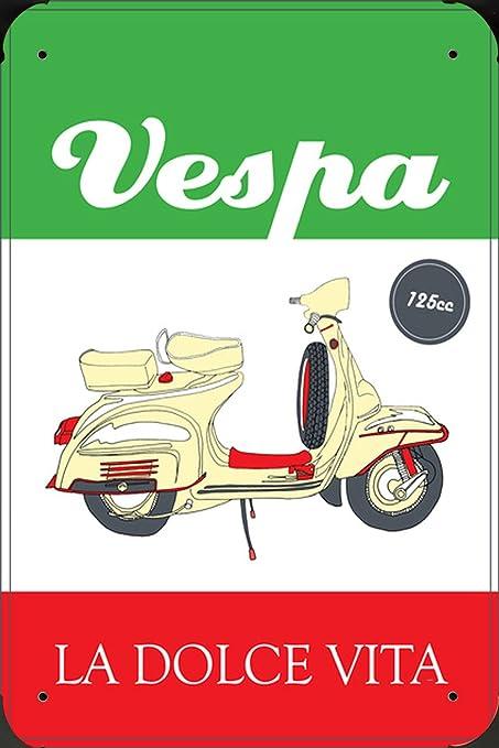Amazon.com: Vespa Scooter La Dolce Vita 125 cc Metal Poster ...