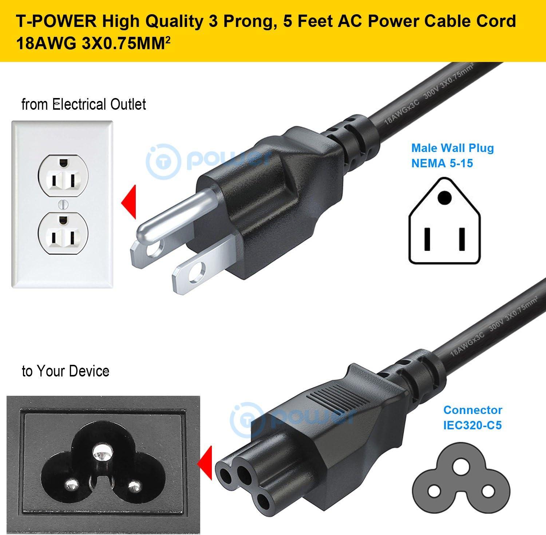 6FT 3 Prong TV Power Cord Cable For LG Samsung HP Insignia Sony:55LB5900 42LN5300 42LN5400 42LB5600 42LN5700 47LB5800 42LB5600 47LB5900 50LB5900 55LB5550 32LN530B 47GA6400 49LB5550 55LN5700 NEMA 5-15P